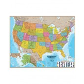 USA Laminated Wall Map (Blue Ocean) with Flags
