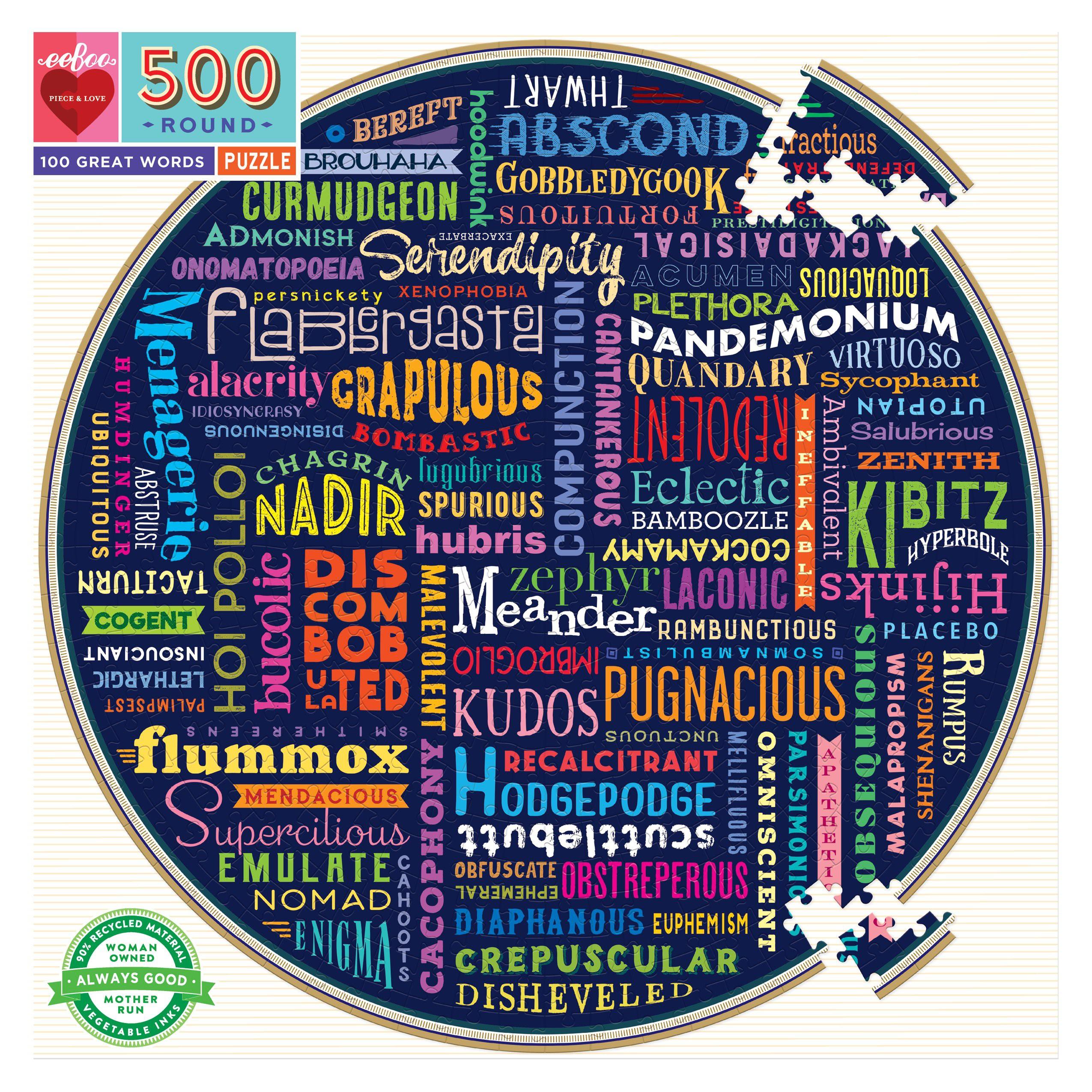 100 Great Words 500 Piece Round Puzzle - eeBoo