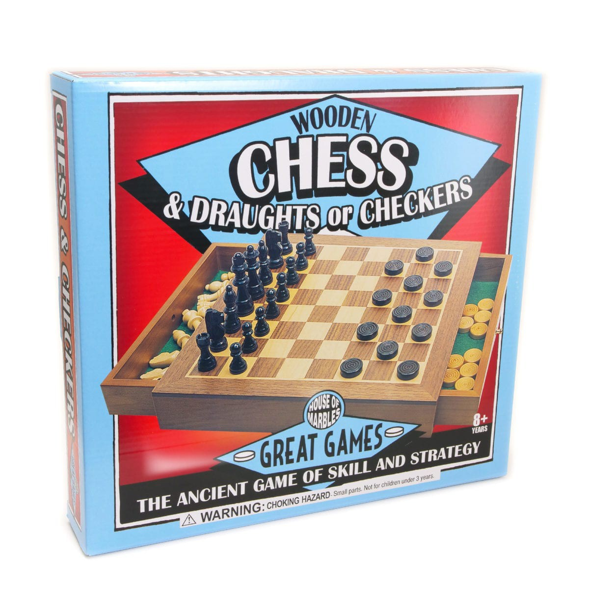 Wooden Chess/Checker Set - House of Marbles