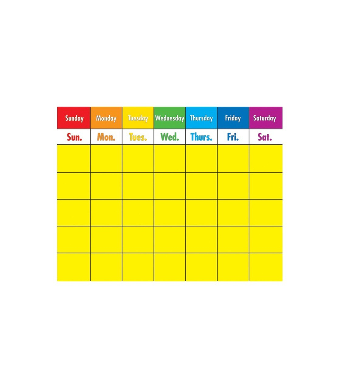 Write-on/Wipe-off Colorful Calendar Chart