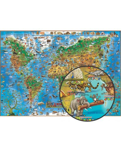 Dino's Illustrated Children's Animals of the World Map