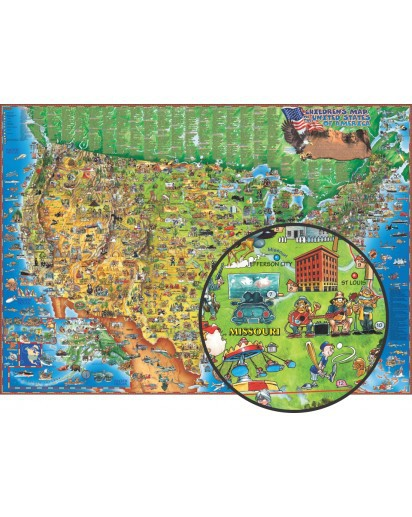 Dino's Illustrated Children's Map of the USA