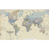 "Hemispheres Boardroom Series World Laminated Wall Map (38"" x 61"")"